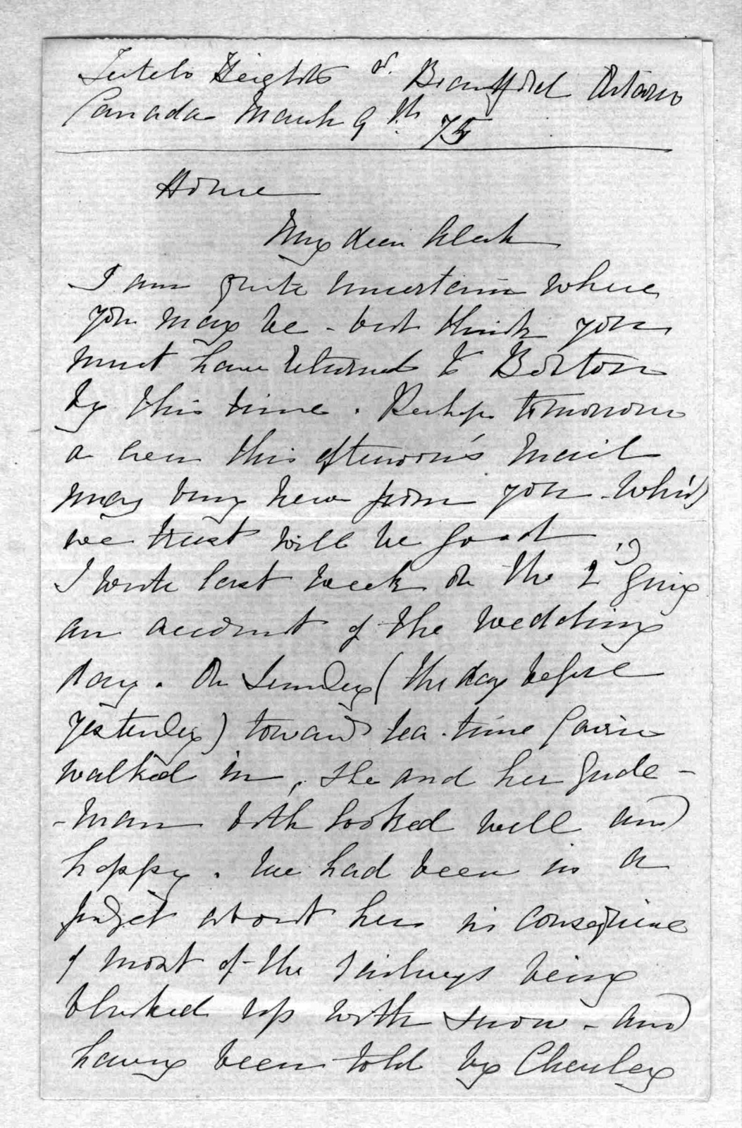 Letter from Eliza Symonds Bell to Alexander Graham Bell, March 9, 1875