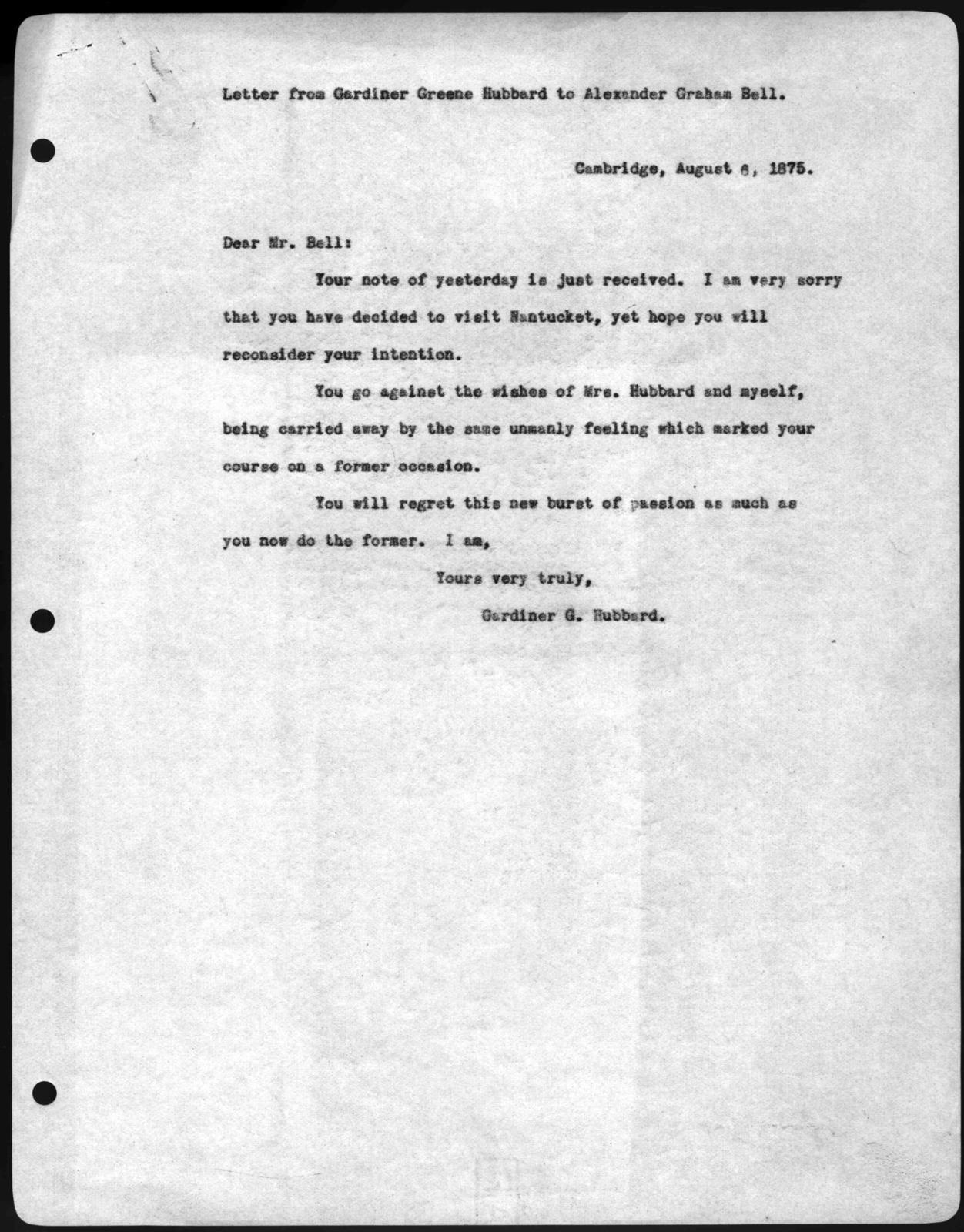Letter from Gardiner Greene Hubbard to Alexander Graham Bell, August 6, 1875