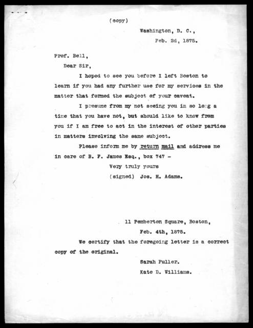 Letter from Joseph H. Adams to Alexander Graham Bell, February 2, 1875