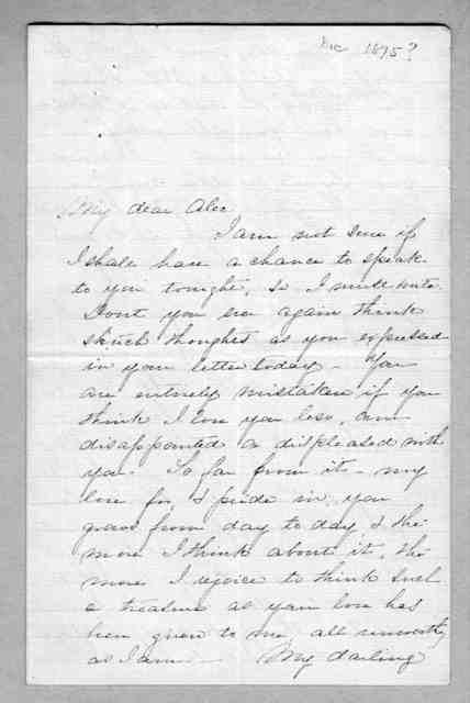 Letter from Mabel Hubbard Bell to Alexander Graham Bell, December 1875