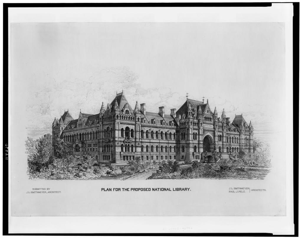 """[Library of Congress (""""National Library""""), Judiciary Square site, Washington, D.C. Perspective view]"""