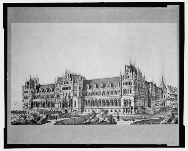 """[Library of Congress (""""National Library""""), Judiciary Square site, Washington, D.C. Perspective, Gothic]"""