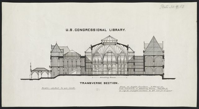 "[Library of Congress (""National Library""), Judiciary Square site, Washington, D.C. (preliminary design). Transverse section]"
