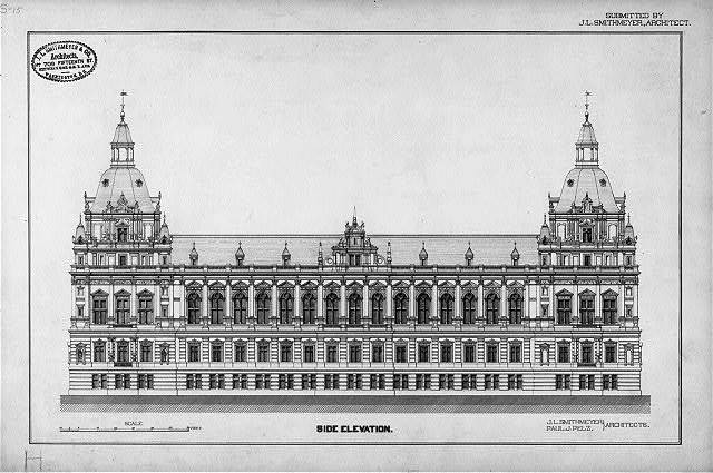 "[Library of Congress (""National Library""), Judiciary Square site, Washington, D.C. Side elevation, German Renaissance]"