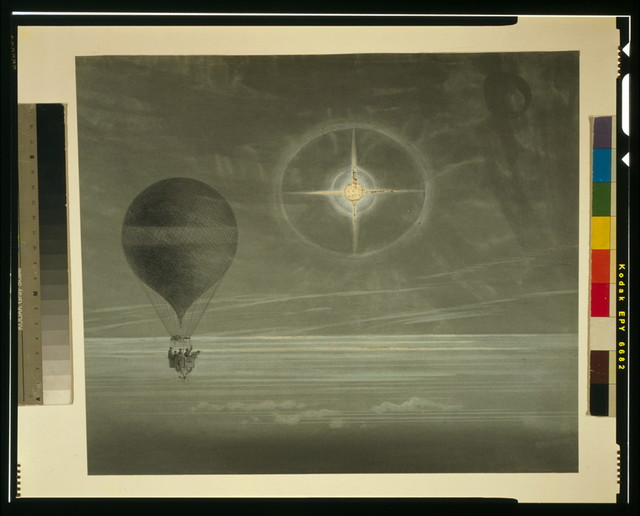 [Lunar halo and luminescent cross observed during the balloon Zénith's long distance flight from Paris to Arcachon in March, 1875]