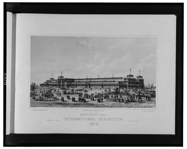 Machinery Hall, International Exhibition, 1876--Fairmont Park, Philadelphia / H. Pettit and Jos. M. Wilson, engineers and architects; photo-lith. by Julius Bien, N.Y.