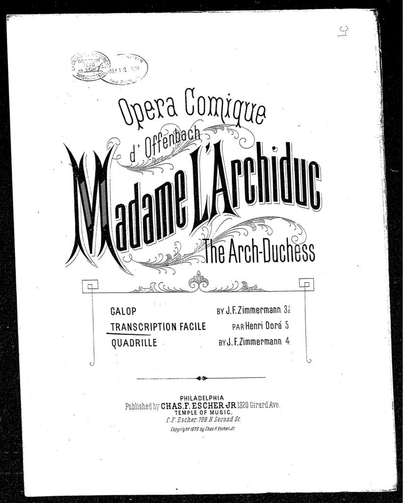 Madame L'Archiduc, transcription facile