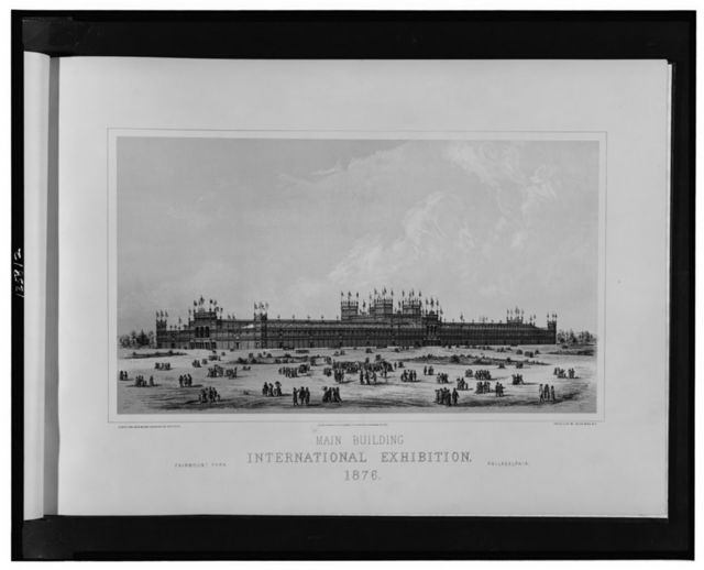 Main building, International Exhibition, 1876--Fairmont Park, Philadelphia / H. Pettit and Jos. M. Wilson, engineers and architects; photo-lith. by Julius Bien, N.Y.