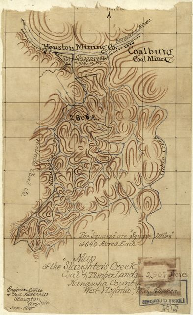 """Map of the """"Slaughter's Creek"""" coal & timber lands, 2,907 acres, Kanawha County, West Virginia, U.S. America /"""