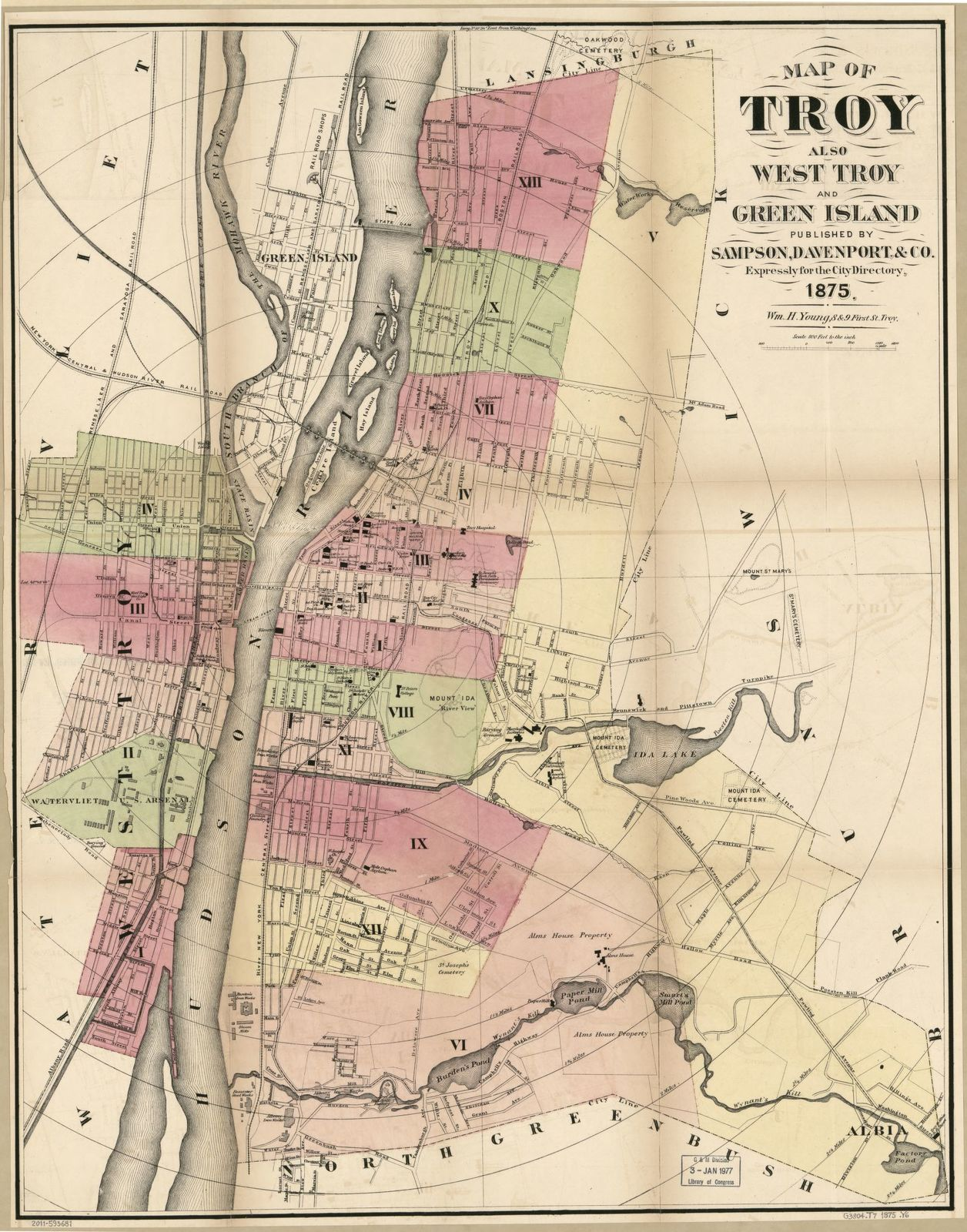 Map of Troy, also West Troy, and Green Island /