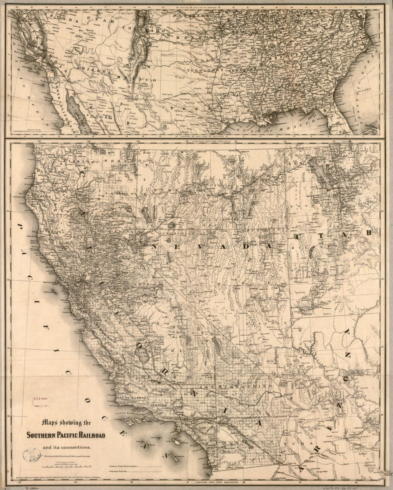 Maps showing the Southern Pacific Railroad and its
