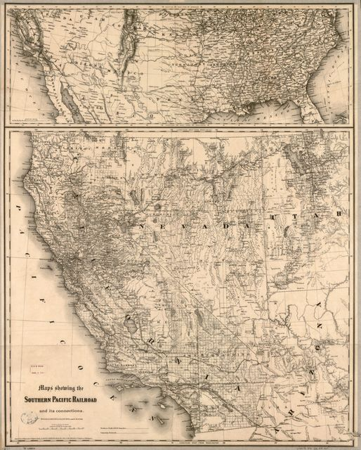 Maps showing the Southern Pacific Railroad and its connections.