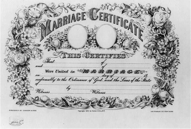 Marriage certificate. This certifies that ...