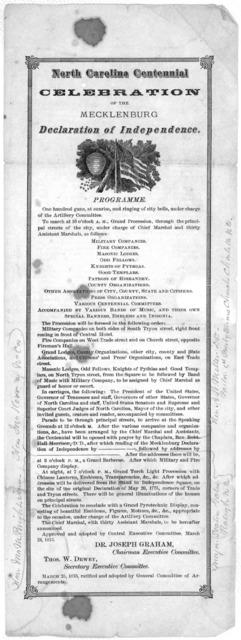 North Carolina centennial celebration of the Mecklenburg Declaration of Independence .... March 25, 1875.