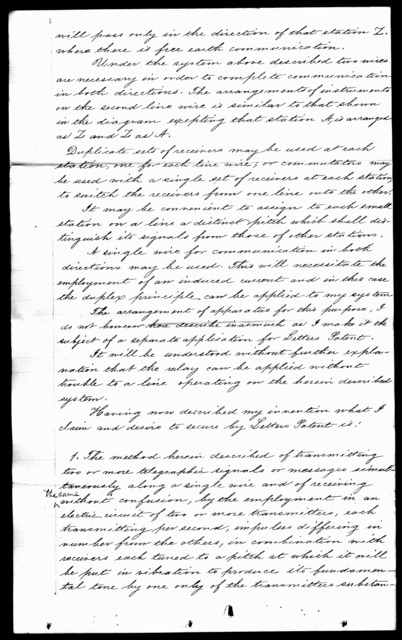 Patent application from Alexander Graham Bell, February 1875