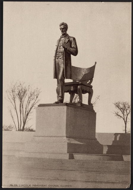 """[Photograph of sculpture entitled, """"The President"""" Bronze by Saint-Gaudens located in Chicago, Illinois.]"""