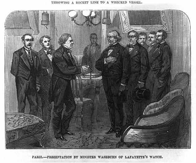 Presentation by Minister [Elihu Benjamin] Washburn[e (1816-1887)] of Lafayette's watch