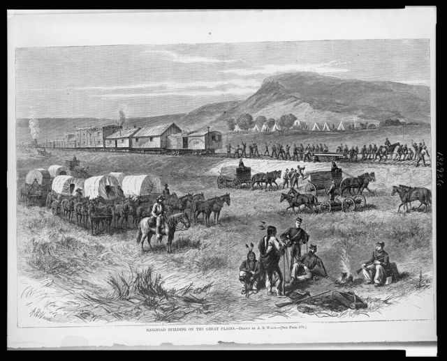 Railroad building on the great plains / drawn by A.R. Waud ; A.R. Waud.