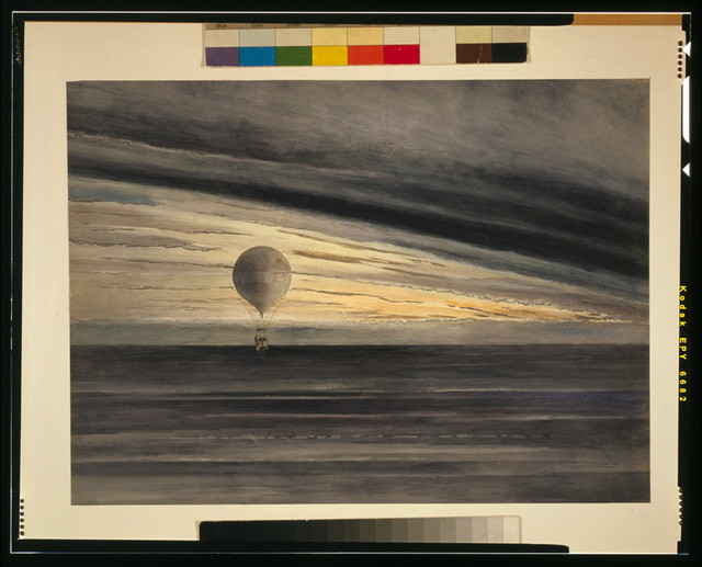 [The balloon Zénith at sunrise or sunset, with five passengers during a long distance flight from Paris to Arcachon in March, 1875]