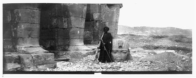 The past & the present [Pillars and fallen colossus at the Memnonium, Thebes] / / AB [monogram]