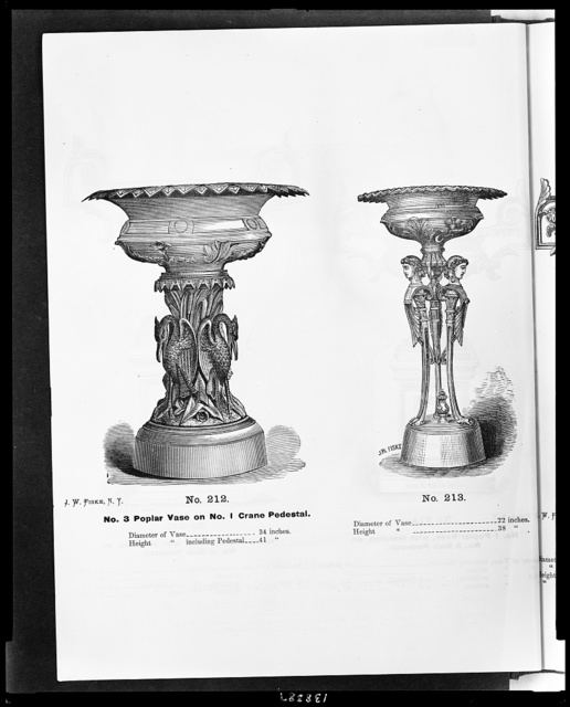 [Two designs for ironwork vases on pedestals]