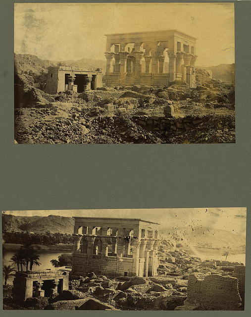 [Two photographs showing the ruins of a temple (Trajan's Kiosk or Pharaoh's Bed) on the island of Philae, Egypt] / AB [monogram]