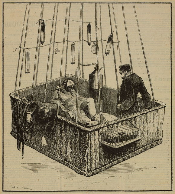 "[View of journalist Joseph Crocé-Spinelli, naval officer Henri Sivel, and Gaston Tissandier in the basket of the balloon, ""Zénith,"" after losing consciousness due to lack of oxygen after reaching an altitude of nearly 28,000 ft., near Paris, France, April, 1875] / [...] ; Lefman, sc."