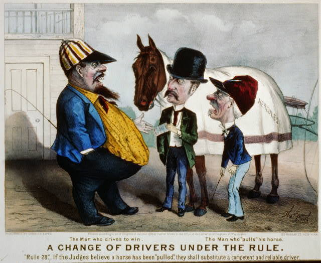 """A change of drivers under the rule: The man who drives to win. The man who """"Pulls"""" his horse"""