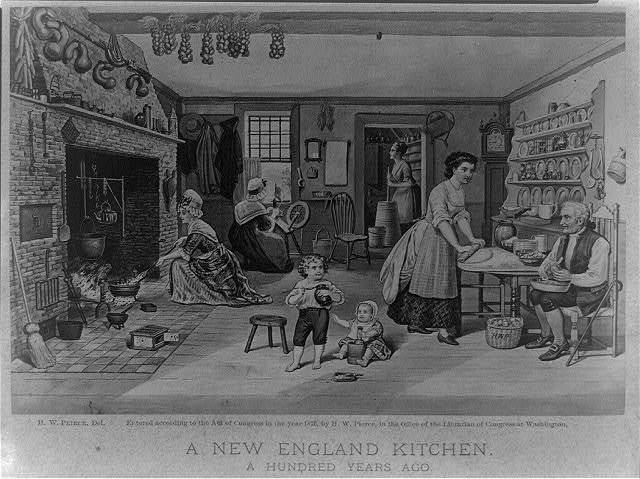 A New England kitchen. A hundred years ago / H. W. P.