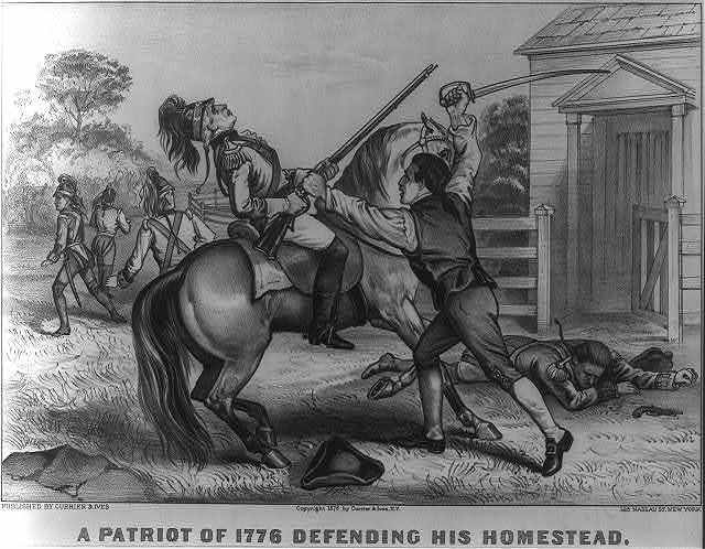 A patriot of 1776 defending his homestead