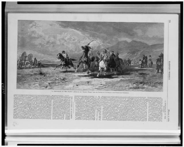 """""""A Scrub-race on the plains"""" / Lagarde sc. ; engraved for """"Harper's weekly"""" from the picture by J.D. Smillie in the water-color exhibition."""