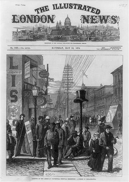 [A street in Philadelphia on the opening of the American Centennial Festival Exhibition, 1876]