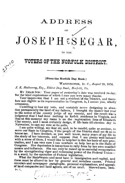 Address of Joseph Segar, to the voters of the Norfolk district. (From the Norfolk Day book.)
