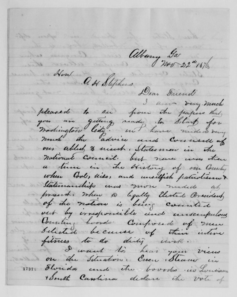 Alexander Hamilton Stephens Papers: General Correspondence, 1784-1886; 1876, Aug. 7-Nov. 27