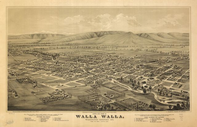 Bird's eye view of Walla Walla, Washington Territory 1876.