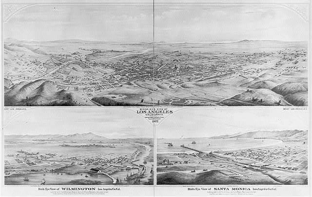 [Cal. - Los Angeles County: bird's-eye views of Los Angeles, looking toward ocean; Wilmington, looking toward Sierra Madres; and Santa Monica, looking South to ocean and Santa Monica Mts.]