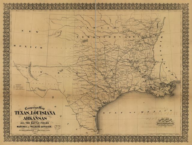 Campaign map of Texas, Louisiana and Arkansas, showing all the battle fields and also the marches of Walker's Division. [1861-65]