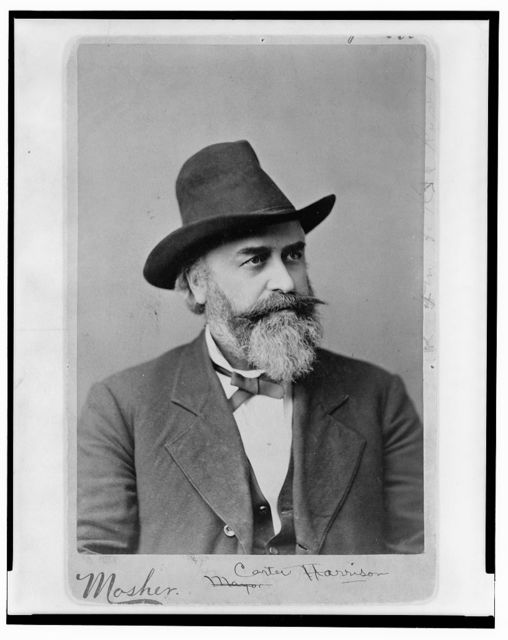 [Carter Harrison, head-and-shoulders portrait, facing right, wearing hat] / Mosher.