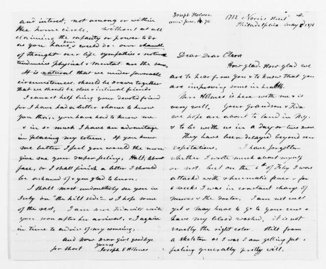 Clara Barton Papers: General Correspondence, 1838-1912; Holmes, Joseph E., 1876-1877