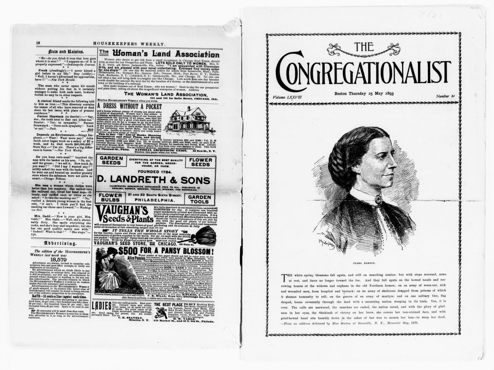 clara barton papers: miscellany, 1856-1957; printed matter; 1876