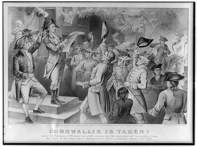 Cornwallis is taken!: Lieut. Co. Tighlman of Washington's staff, announcing the surrender of Cornwallis, from the steps of the State House, (Independence Hall) at midnight, October 23rd 1781