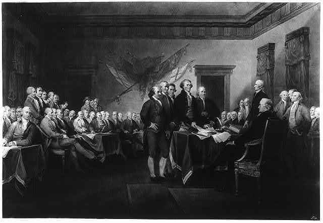 Declaration of Independence, July 4th, 1776 / painted by J. Trumbull ; engraved by W.L. Ormsby, N.Y.