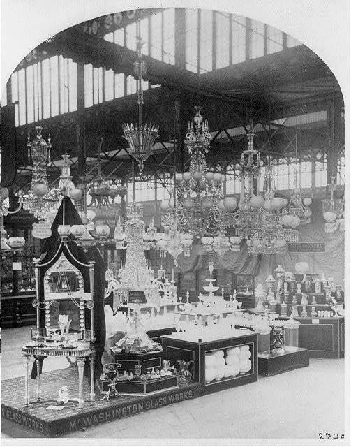 [Exhibit displays at Centennial Exhibition, Phila.: Mt. Washington Glassworks display #274-]