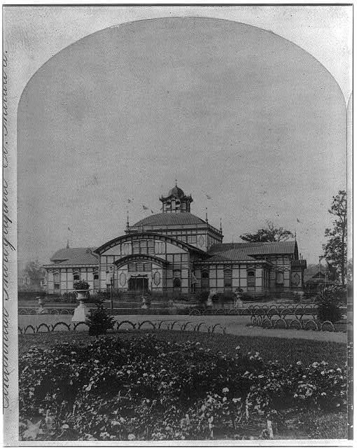 [Exterior view of the Woman's Pavilion at the International Centennial Exhibition in Philadelphia, 1876]