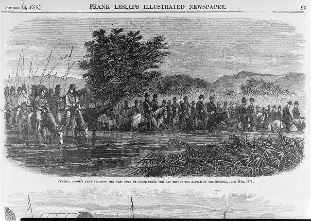 General Crook's Army crossing the west fork of Goose Creek the day before the Battle of the Rosebud, June 18th, 1876