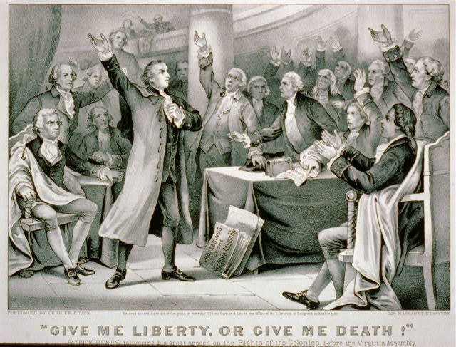 """""""Give me liberty, or give me death!"""" Patrick Henry delivering his great speech on the rights of the colonies, before the Virginia Assembly, convened at Richmond, March 23rd 1775, concluding with the above sentiment, which became the war cry of the revolution."""