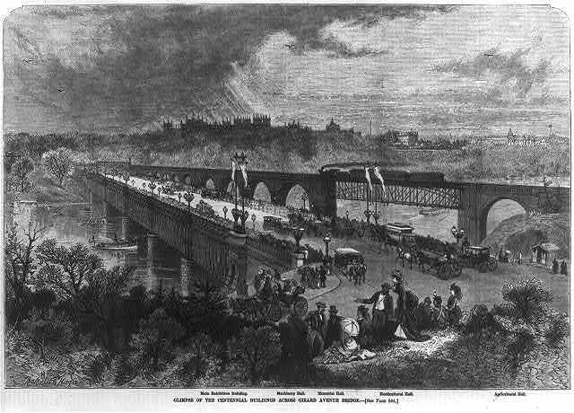 Glimpse of the Centennial buildings across Girard Avenue Bridge [Philadelphia]