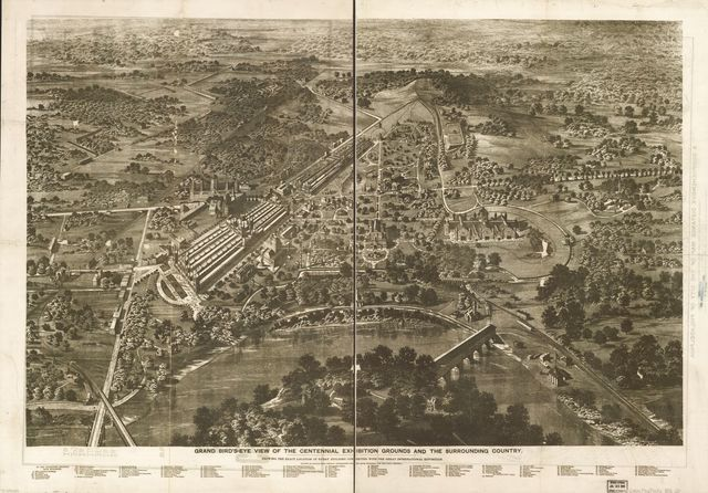 Grand bird's-eye view of the Centennial Exhibition grounds and the surrounding country : showing the exact location of every building connected with the great international exposition, drawn in crayon from official topographic surveys made expressly for the Daily Graphic /