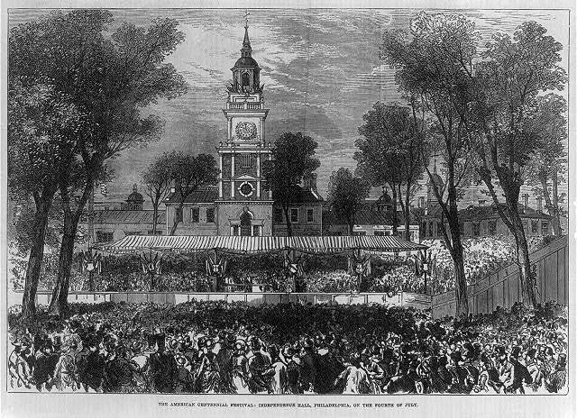 [Independence Hall, Philadelphia, during the American Centennial Festival, on the Fourth of July 1876]