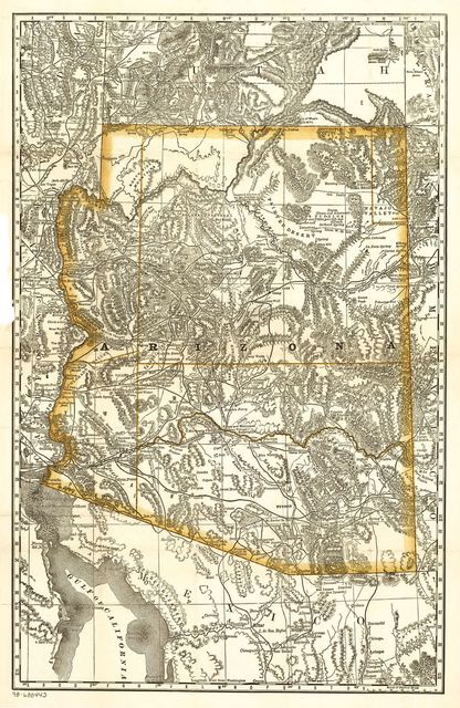 Indexed map of Arizona showing the stage lines, counties, lakes & rivers.